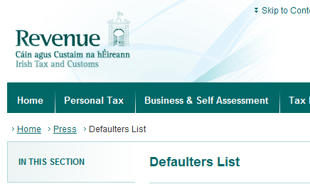 Revenue Defaulters List