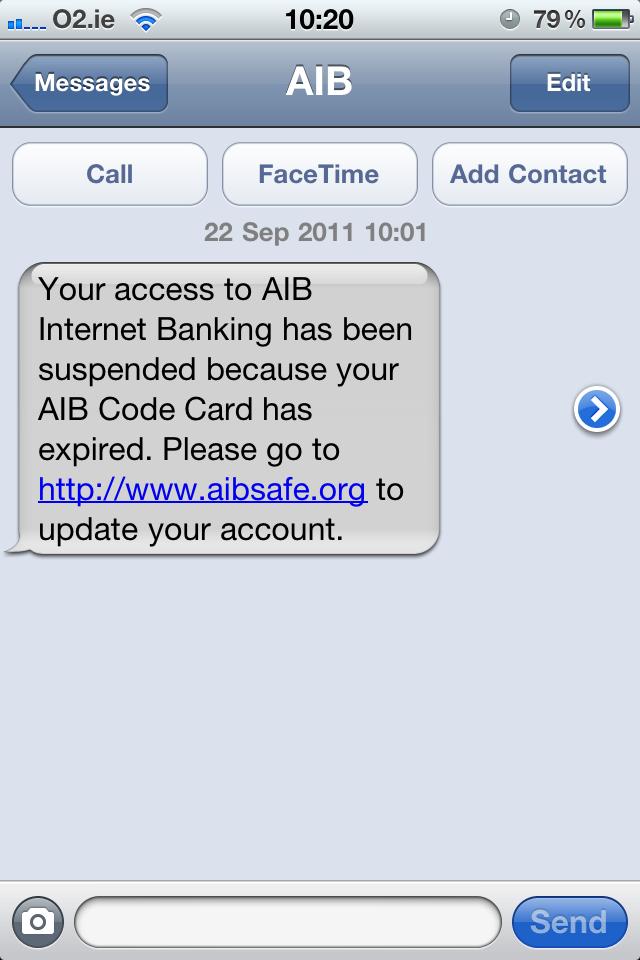 AIB Phishing Alert